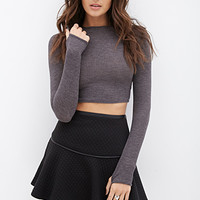 FOREVER 21 Quilted Faux Leather Trim Skirt Black