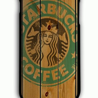 iPhone 6S Plus Case - Hard (PC) Cover with Starbucks Logo on Wood Plastic Case Design