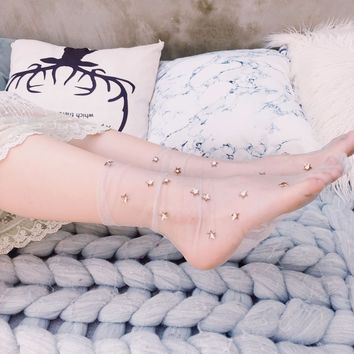 New Fashion Women's Glitter Stars Socks.Ladies Hot fix Shiny Metal Stars Transparent Mesh Socks Anklet Sox Princess Sock Hosiery