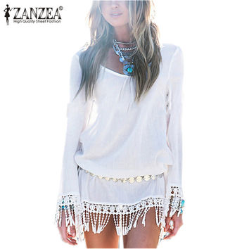 2016 New Summer Style Women Dress O Neck Lace Tassel Chiffon Beach Mini Dresses Casual White Short Party Vestidos Bohemian