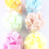 Sugar Scrub Cubes - Set of 6 Jars - You Choose Scents - Spa/Party Favors - 8 oz. Jar