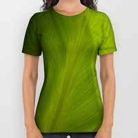 Green plant with shadow All Over Print Shirt by Claude Gariepy