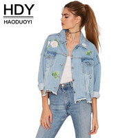 HDY haoduoyi Women  Denim Bomber Jacket Women Single Breasted Long Sleeve Jacket Floral Printed  Elegant Preppy Coat