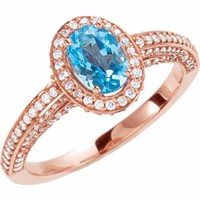 14k Rose Gold Swiss Blue Topaz Oval & Diamond Halo Engagement Ring