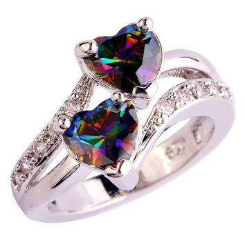 Heart Cut Rainbow & White Topaz Ring