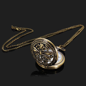 Dragonfly Chain Necklace Alloy Women Analog Pocket Watch