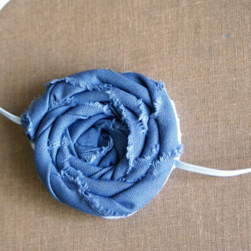 Gray Frayed Fabric Rosette Headband/ 3-12 month through adult