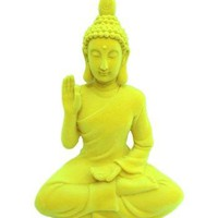 Neon Yellow Boho Buddha Seated Décor Figurine