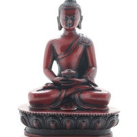 "5.5"" Resin Meditation Buddha Statue - Burgundy Wine"
