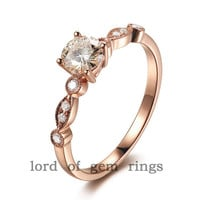 Art Deco VS 5mm Moissanite VS Accent Diamonds 14K Rose Gold Engagement Ring Wedding Ring