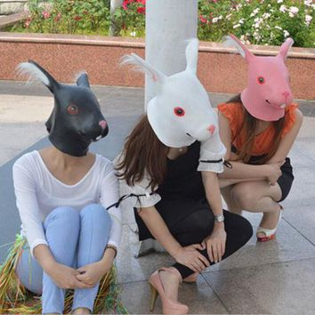 Rabbit Head Mask Rubber Latex Animal Costume Full head Mask Halloween Costume Fa