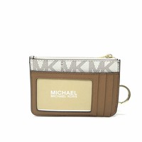 Michael Kors Center Stripe Small Top Zip Coin Pouch Card Case with ID Window