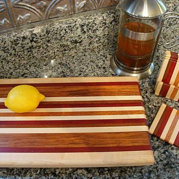 Handmade Medium Wood Cutting Board with Matching Coasters - The Instant Party - Bloodwood & Lacewood