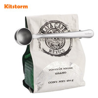 Kitchen Gadgets Stainless Steel Coffee Scoop With Bag Clip Coffee Tools