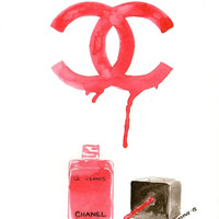Chanel nail polish and logo - Watercolor Make-Up illustration