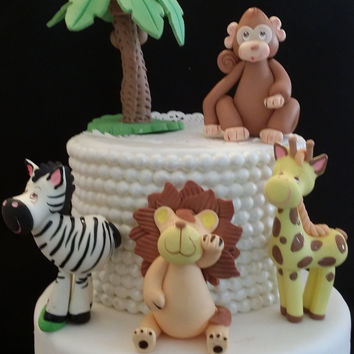 Jungle Party, Jungle Animal Set, Jungle Baby Shower, Elephant, Lion Cake Topper, Safari Baby Shower, Jungle Animal Decoration, Jungle Safari