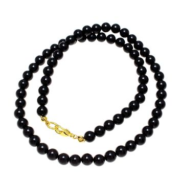 """GENUINE NATURAL BLACK CORAL BEAD BALL STRAND NECKLACE 8MM 16""""- 32"""""""