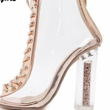 High Heel Peep Toe Transparent Clear Ankle Boots