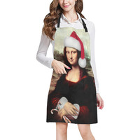 Christmas Mona Lisa with Santa Hat All Over Print Apron | ID: D2378789