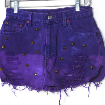 SALE Vintage Dyed Destroyed PURPLE Ombre High Waist STUDDED Bleached Denim shorts bright colored cut off short shorts