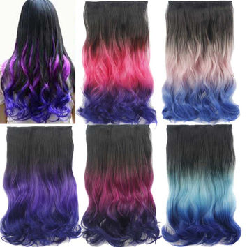 Hair Extensions 23 inch Long Curly Natural Hairpieces Colorful Ombre 5 Clip Extensions for Women Cheap Good Quality