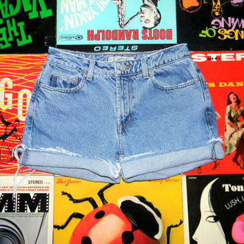 Vintage 90s Distressed Stone Washed Denim Shorts - Frayed, Rolled Up, Blue Denim Z CAVARICCI Jean Cut Offs Size 6 Small S Medium M