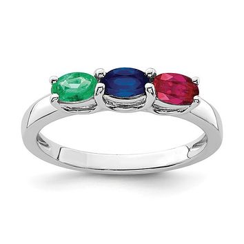 Sterling Silver Genuine Emerald, Ruby & Sapphire Ring