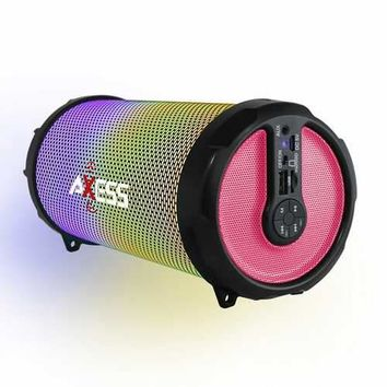 AXESS Vibrant Plus Black HIFI Bluetooth Speaker with Disco LED Lights In Pink