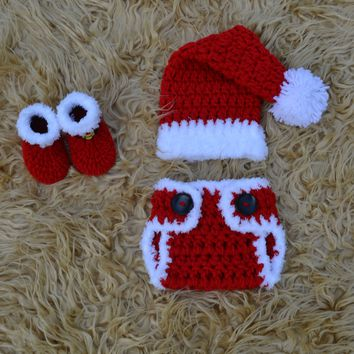 Crochet Baby Christmas Outfit Newborn Photography Prop Outfit