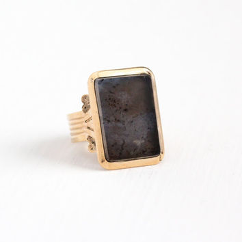 Antique Victorian Rose Gold Filled Agate Ring - Vintage 1890s Size 8 Large Gray Speckled Rectangular Gem Cigar Band Statement Men's Jewelry