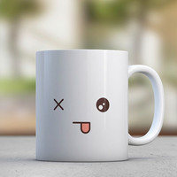 Emoticons - Tongue - Cute Mugs - Gift for Her - Sister Gift - Girlfriend Gift - Coffee Mugs - Tea