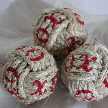 Rustic bowl or vase fillers - X's and O's set of 3 nautical rope knots - Valentine day decor - monkey fists
