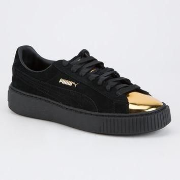 puma suede platform gold womens shoes sneakers  number 1