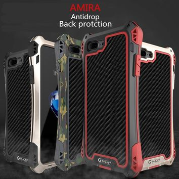 R-just AMIRA Powerful Dropproof Carbon Fiber Case for Galaxy S6/S7 S8 S8 Plus Edge Note 5 Note 8 Case iPhone 6 6S Plus 7 7 Plus
