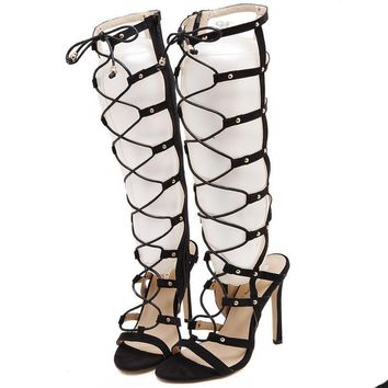 Gladiator Roman Strappy lace up Knee High Heels