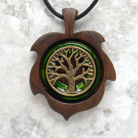 tree of life necklace: green - wiccan pendant - celtic jewelry - tree necklace - mothers day - unique gift - nature necklace - leaf necklace