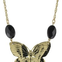 Privileged NYC Onyx Quartz Gold plated Butterfly Rope Chain Necklace 30""