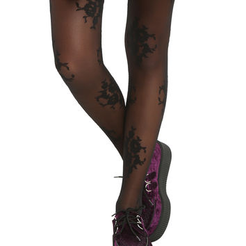 LOVEsick Black Damask Tights
