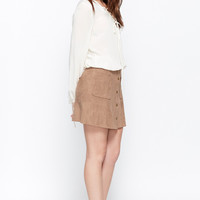 Cool Factor Faux-Suede Pocket Skirt