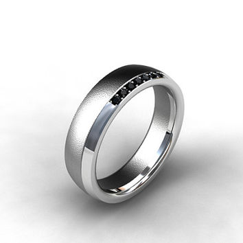 Black diamond ring, men wedding band, Titanium ring, men titanium band, matte wedding band, black wedding, wide wedding ring