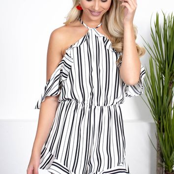 Bold Ruffle Striped Romper