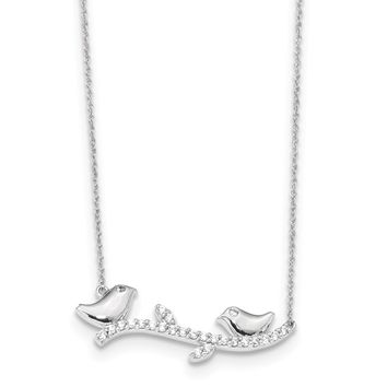 14k White Gold CZ Birds on Branch 18in Necklace SF2546