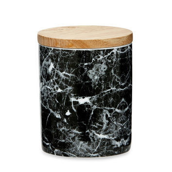 Black and white faux marble canister - medium