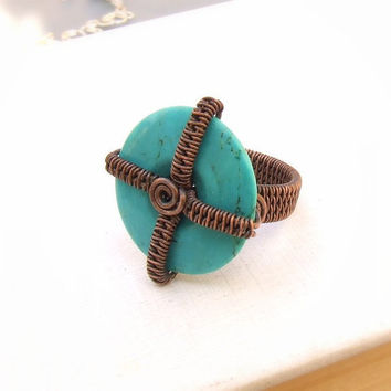 Cocktail geometric ring blue howlite ring turquoise blue rustic copper ring stone statement jewelry