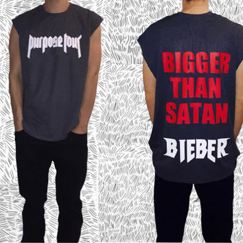 Justin Bieber BIGGER THAN SATAN Purpose Tour T-shirt  Unisex