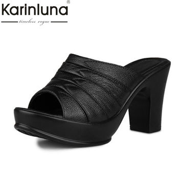 KARINLUNA 2017 size 32-41 genuine leather peep toe platform women shoes sexy high heels outdoor women mules pumps