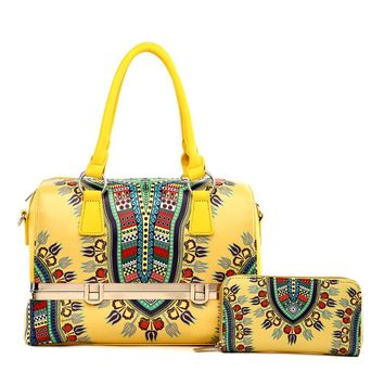 Yellow Dashiki Print Vegan Leather Framed Handbag with Matching Zippered Wallet