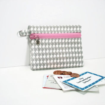 Small Coin Purse/Change Wallet, ID/Card Wallet,Zippered Coin Pouch,Gray and White Houndstooth Print Coin Purse