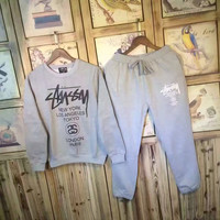 "Women Fashion ""Stussy"" Print Top Sweater Pants Sweatpants Set Two-Piece"