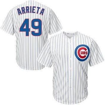 Chicago Cubs Jerseys #49 Jake Arrieta White Blue Jerseys White Home Jersey Authentic Baseball Cool base Jerseys